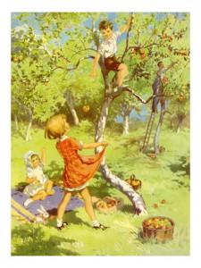 niños manzanas